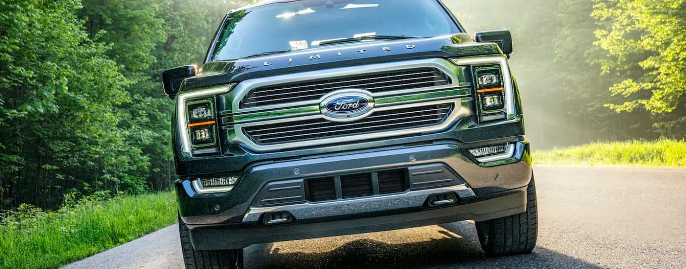 A black 2021 Ford F-150 is shown from the front driving down a wooded road.