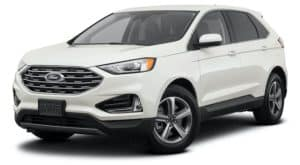 A white 2021 Ford Edge SEL is angled left.