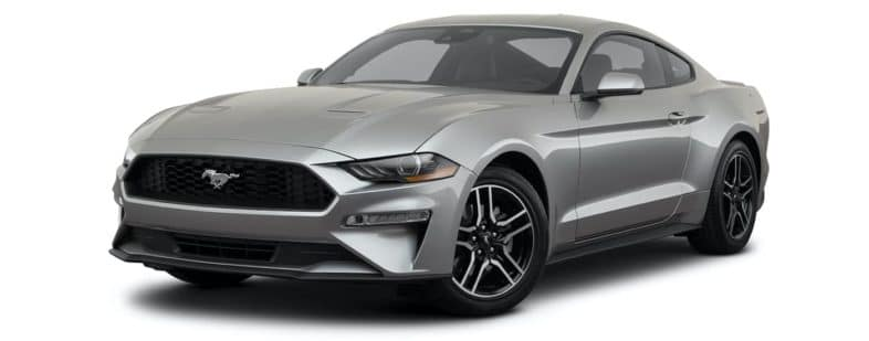 A silver 2021 Ford Mustang Ecoboost Premium is angled left.