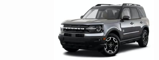 A silver 2021 Ford Bronco Sport is angled left.