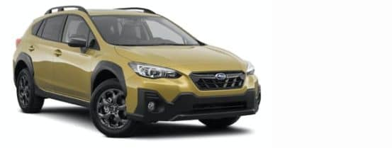 A yellow 2021 Subaru Crosstrek is angled right.