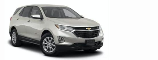 A silver 2021 Chevy Equinox is angled right.