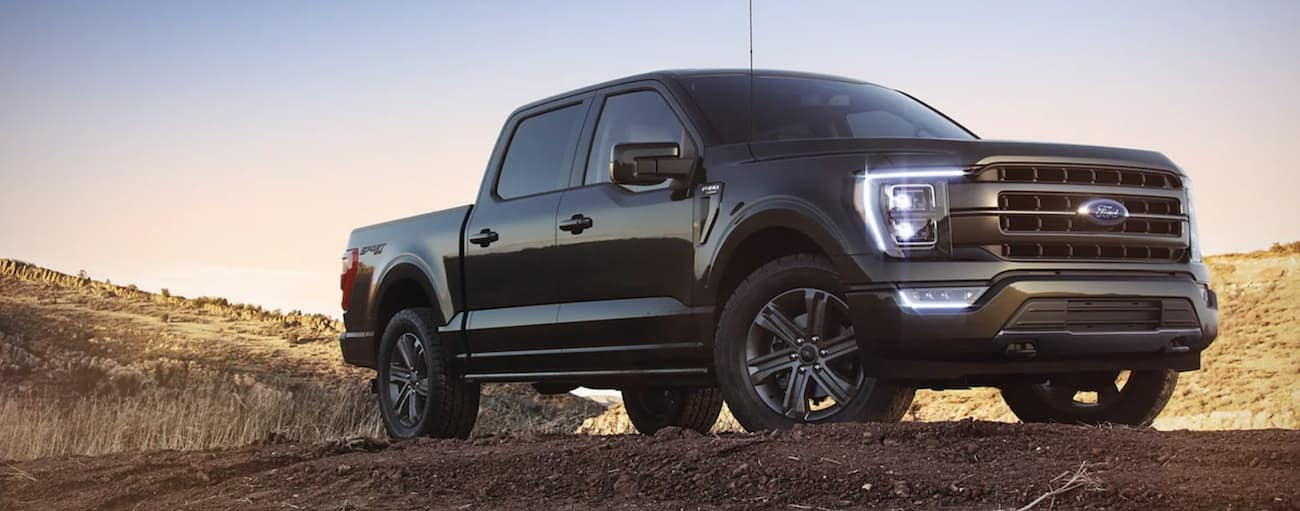 A black 2021 Ford F-150 is shown from a low angle parked in a field during a 2021 Ford F-150 vs 2021 Toyota Tundra comparison.