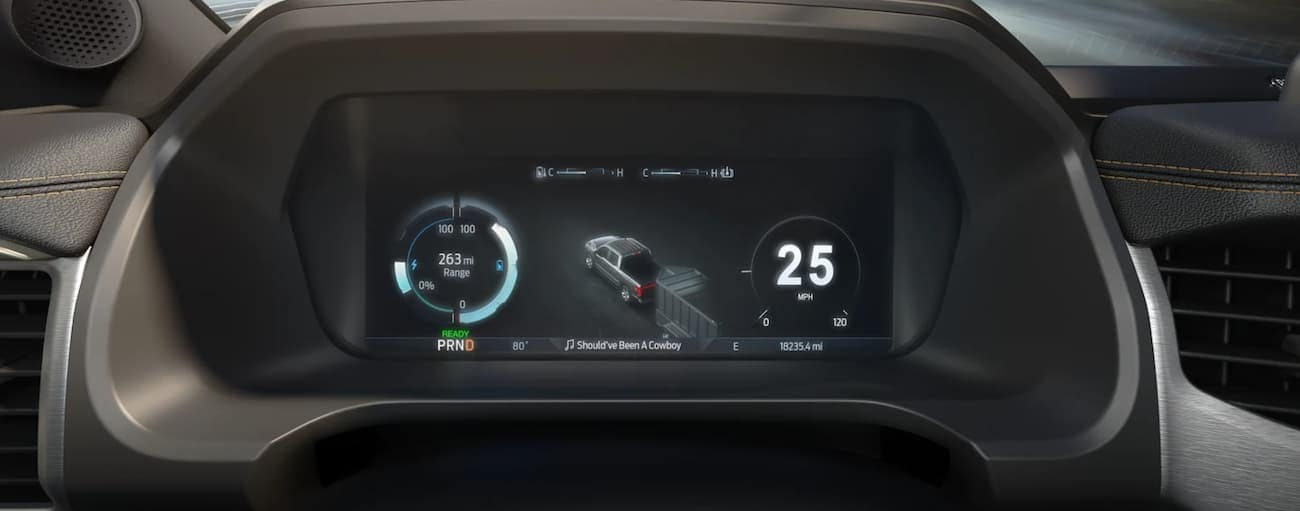 The infotainment screen in a 2022 Ford F-150 Lightning is shown.