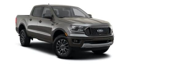 A grey 2021 Ford Ranger XLT is angled right.