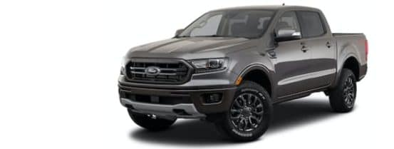 A grey 2021 Ford Ranger is angled left.