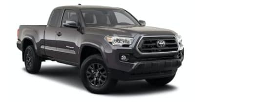 A grey 2021 Toyota Tacoma is angled right.