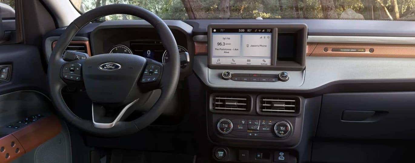 A close up shows the infotainment screen in a 2022 Ford Maverick.