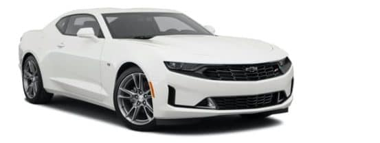 A white 2021 Chevy Camaro 1LT is angled right.