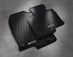 Two stacked black Mazda All-Weather floor mats for a CX-5
