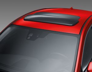 Red Mazda6 car roof with moon roof deflector