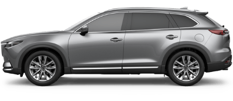Side view of machine gray Mazda CX-9 Signature full-size SUV