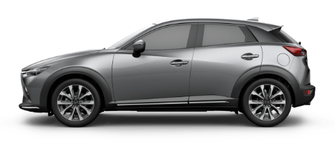 Side view of machine gray Mazda CX-3 Grand Touring compact SUV