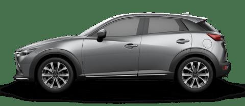 Side view of machine gray Mazda CX-3 Grand Touring compact SUV