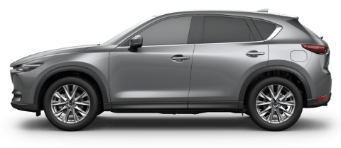Side view of machine gray Mazda CX-5 Signature crossover SUV