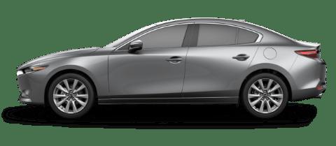 Side view of machine gray Mazda3 compact sedan