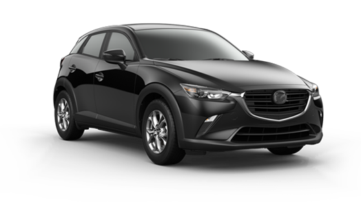 black 2021 Mazda CX-3 SUV with chrome rims and accent on the grille