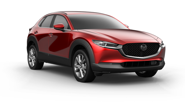 red 2021 Mazda CX-30 SUV with black accents on the doors and beneath the grille along with chrome rims and window trim