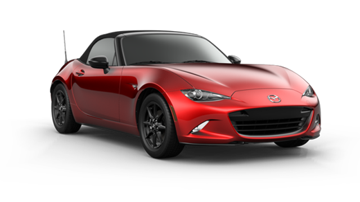 wed 2021 Mazda MX-5 coupe with a black convertible top, rims, and grille