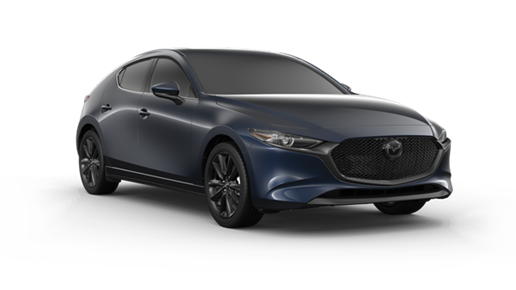 dark blue 2021 Mazda3 hatchback with black rims, door mirror caps, and grille