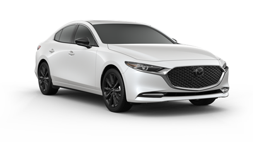 white 2021 Mazda3 sedan with black rims, black door mirror caps, and chrome accents around the grille