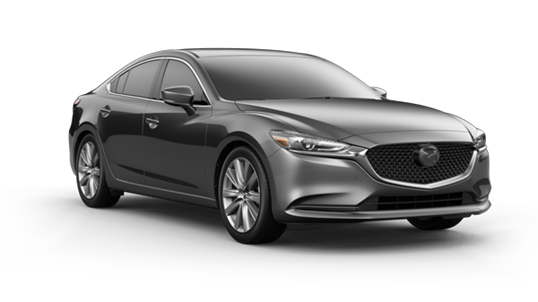 dark silver 2021 Mazda6 sedan with chrome rims and grille accent