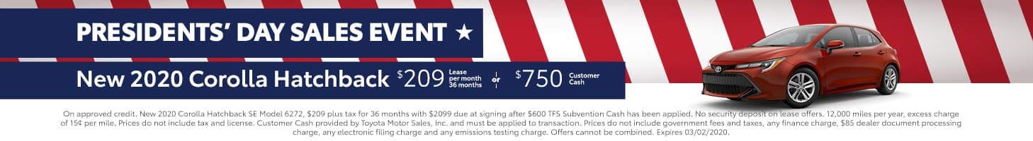 Presidents' Day Sales Event - Corolla Hatchback