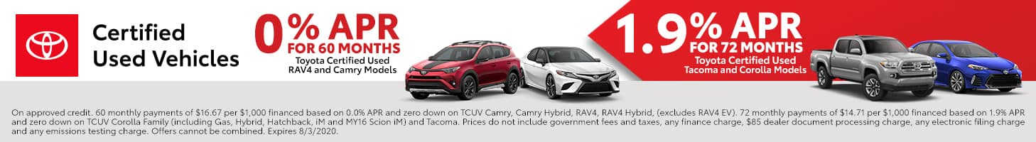 Toyota Certified Used Special APR