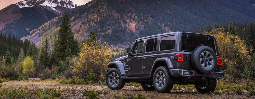2019 Jeep Wrangler next to a mountain