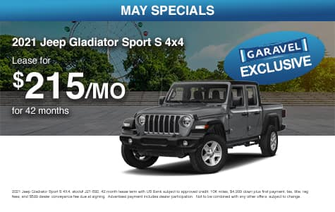 <center>Lease a 2021 Jeep Gladiator Sport S 4x4 for $215/month for 42 months<center>