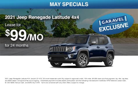 <center>Lease a 2021 Jeep Renegade Latitude 4x4 for $99/month for 24 months<center>