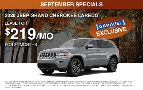 <center>Lease a 2020 Jeep Grand Cherokee Laredo for $219/month for 36 months<center>