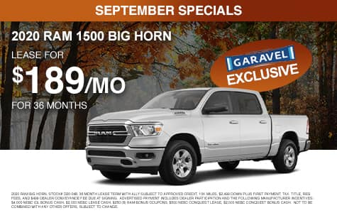<center>Lease a 2020 RAM 1500 Big Horn for $189/month for 36 months<center>