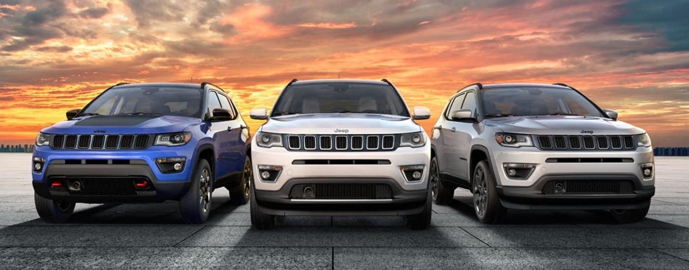 Jeep Compass lined up in lot