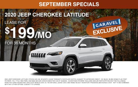 <center>Lease a 2020 Jeep Cherokee Latitude for $199/month for 36 months<center>