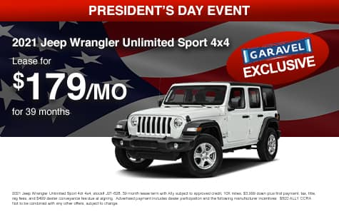 <center>Lease a 2021 Jeep Wrangler Unlimited Sport 4x4 for $179/month for 39 months<center>