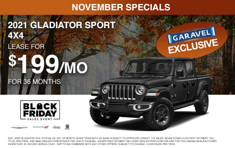 <center>Lease a 2021 Gladiator Sport 4x4 for $199/month for 36 months<center>