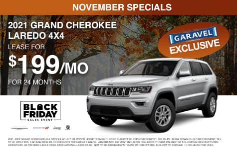 <center>Lease a 2021 Jeep Grand Cherokee Laredo 4x4 for $199/month for 24 months<center>
