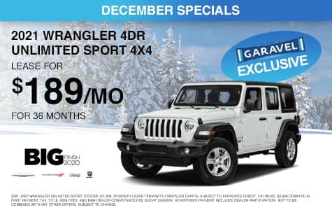 <center>Lease a 2021 Jeep Wrangler 4dr Unlimited Sport 4x4 for $199/month for 42 months<center>