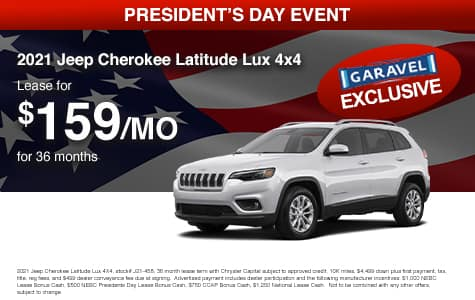 <center>Lease a 2021 Jeep Cherokee Latitude Lux 4x4 for $159/month for 36 months<center>