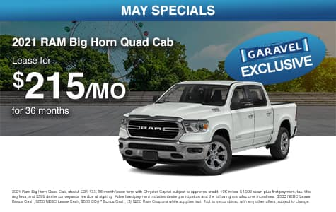 <center>Lease a 2021 RAM Big Horn Quad Cab for $215/month for 36 months<center>