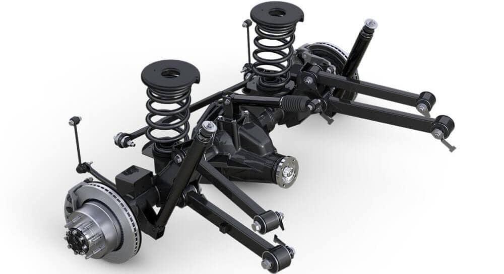 Ram 3500 suspension on white background
