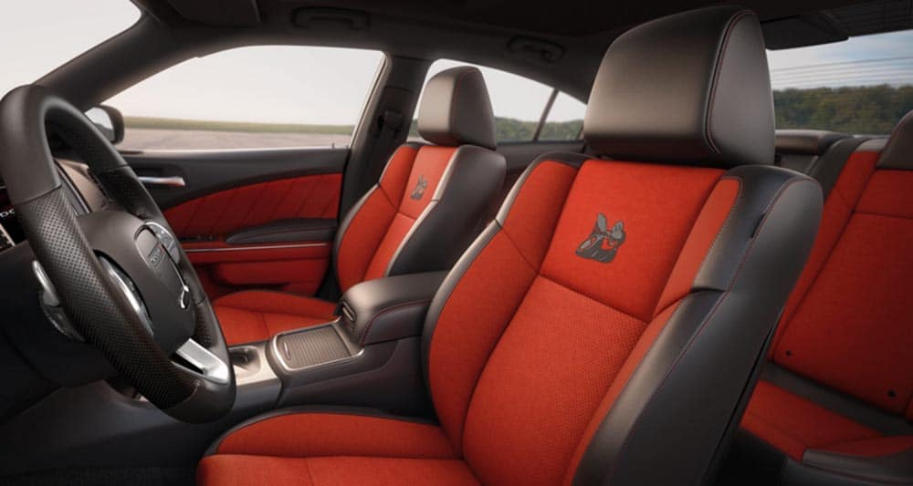 2018 Dodge Challenger contrast black and red seating
