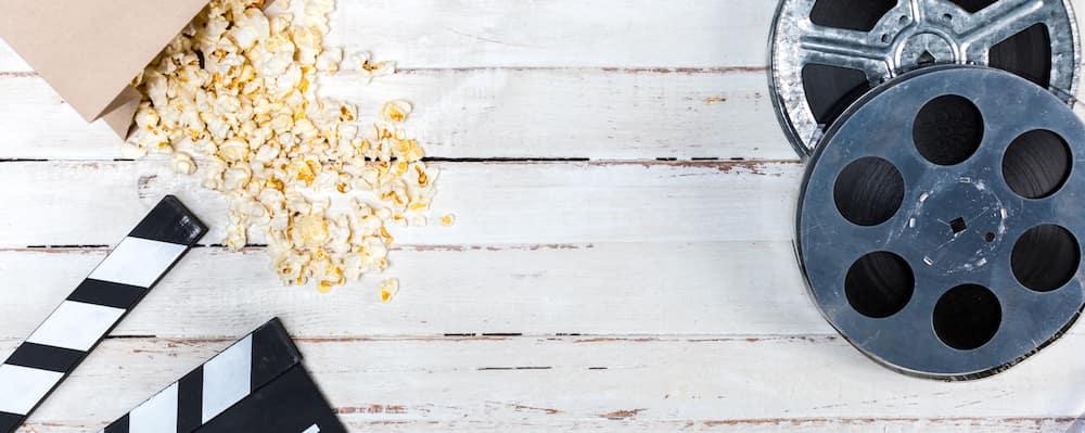 Popcorn and movie reel