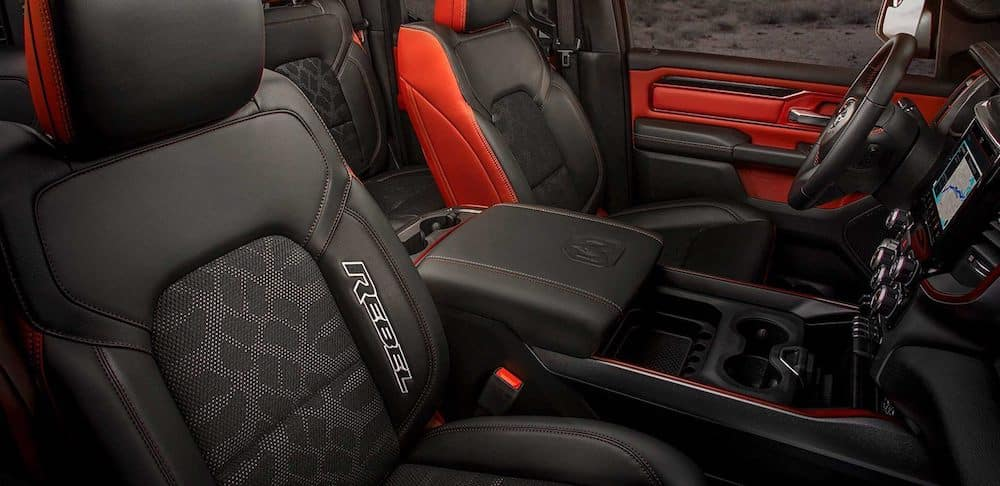 Red and black seats inside a Ram Rebel
