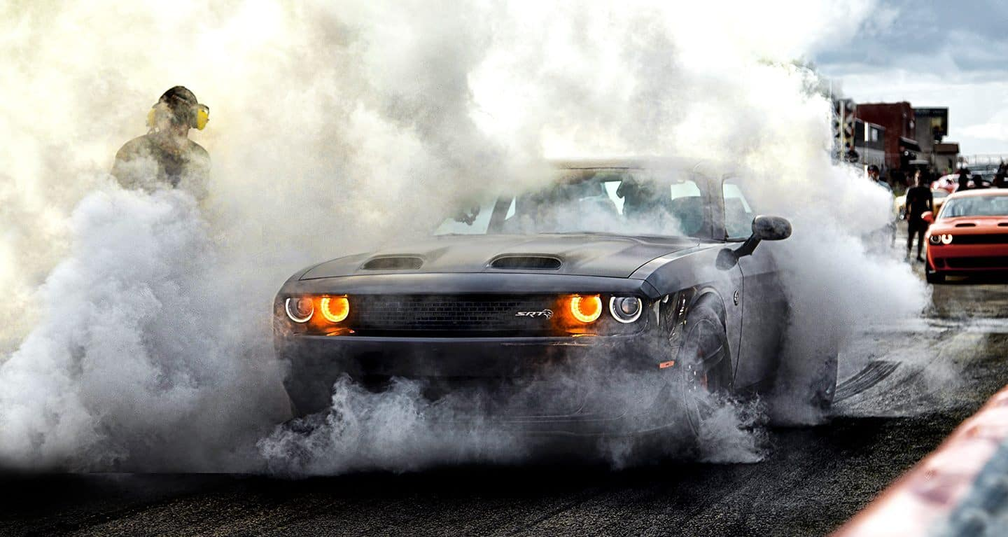 2019 Dodge Challenger SRT Hellcat Redeye on drag strip doing burnout