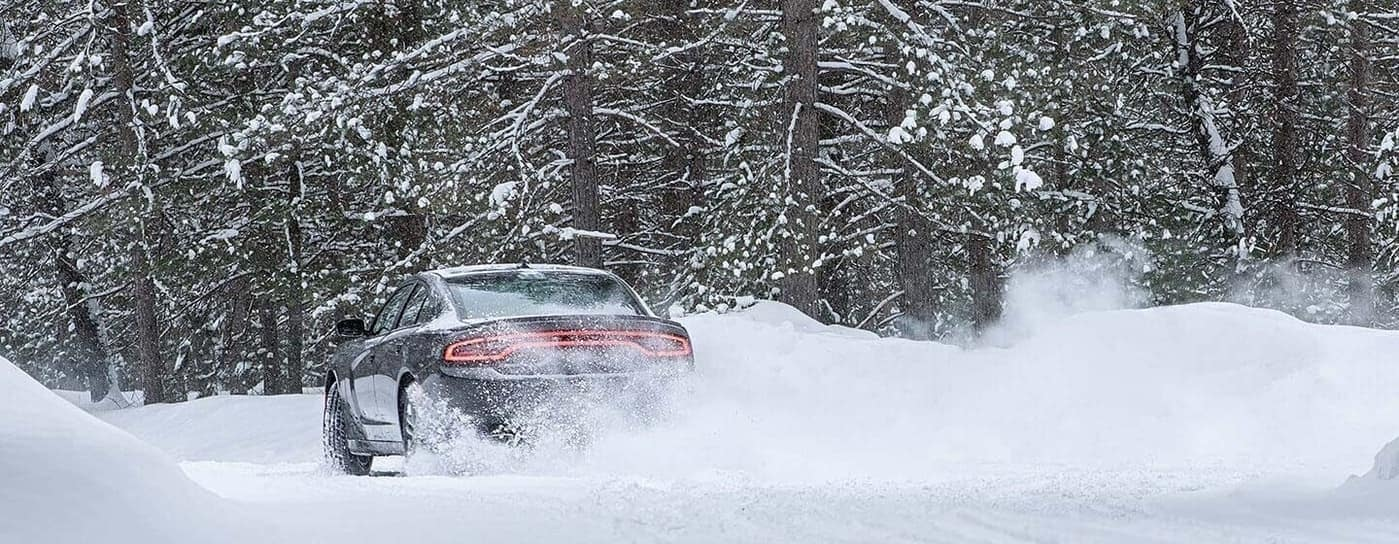 2020 Dodge Charger driving in snow