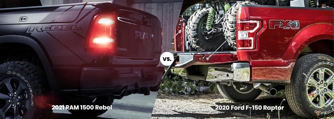2021 RAM 1500 Rebel vs. 2020 Ford F-150 Raptor banner