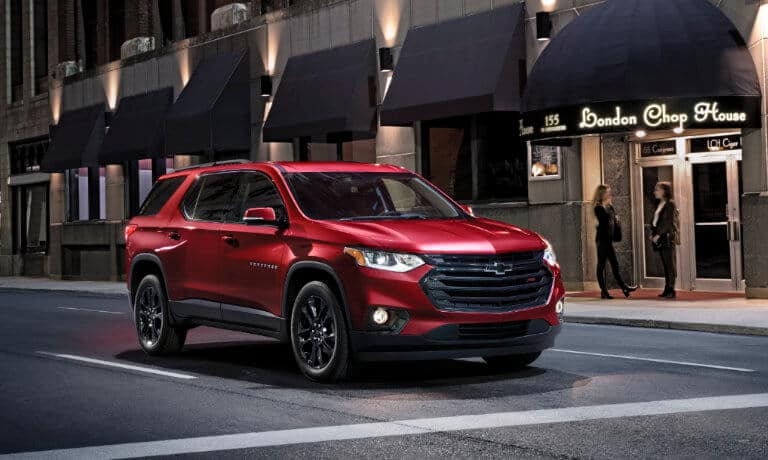 2020 Chevy Traverse driving in the city at night