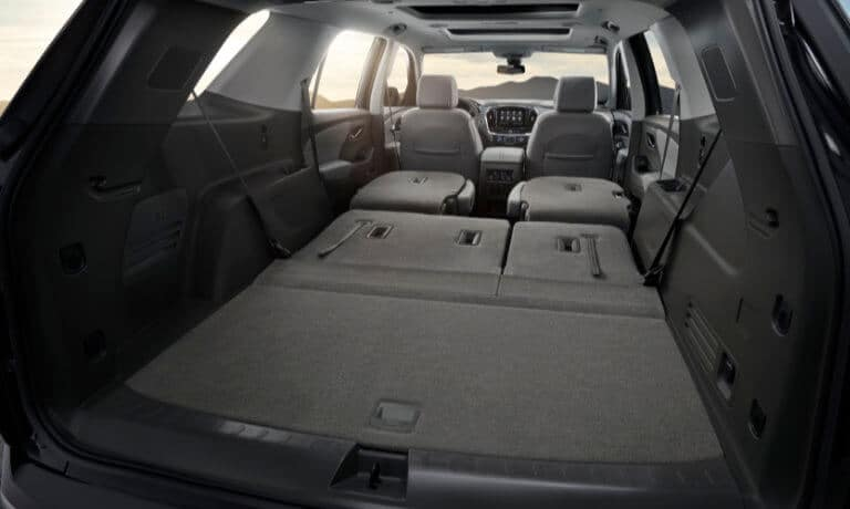 2020 Chevy Traverse interior rear view with seats folded down